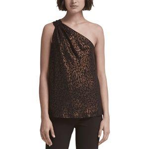 DKNY top Blouse Black Brown Metallic Print Sz XS